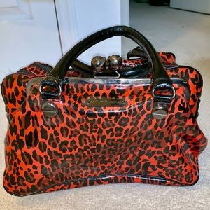 BETSEY JOHNSON RED CHEETAH OVERNIGHT BAG